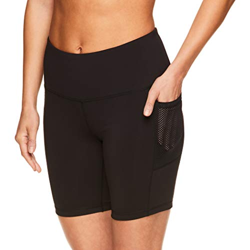 Reebok Women's Compression Running Shorts - High Waisted Performance Gym Yoga & Workout Bike Short - 7 Inch Inseam - Black Vault High Rise, Small