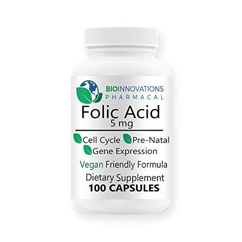 Bio-Innovations Pharmacal Folic Acid 5mg (Vitamin B9 Folate) 100 Vegan Capsules