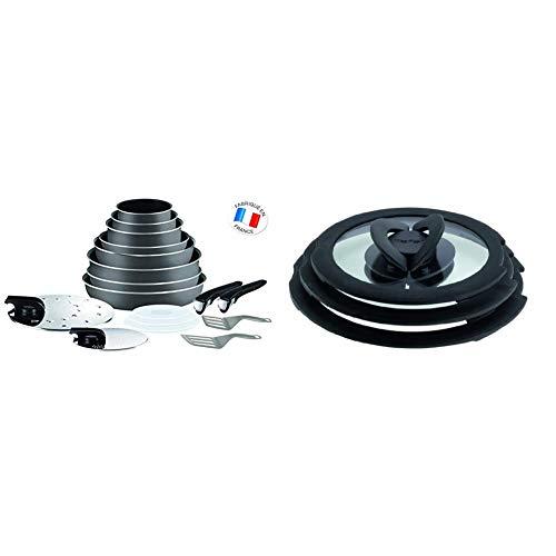 Tefal L2049002 Ingenio 5 Essential Lote de 17 Piezas Gris Antracita + L99310 - Juego de 3 tapas de cristal, negro, 16/18/20 cm