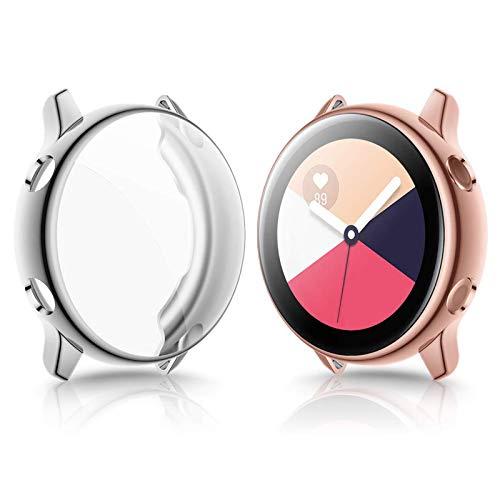 KIMILAR Hülle Kompatibel mit Samsung Galaxy Active Watch 40mm Schutzhülle (Kann mit Hülle Aufladen),(Nicht für Active 2) Vollständige Abdeckung TPU Cover Hülle Schutzfolie -Silber + Roségold