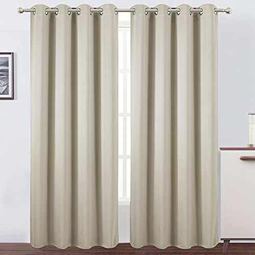 LEMOMO Light Beige Thermal Blackout Curtains/52 x 84 Inch/Set of 2 Panels Room Darkening Curtains