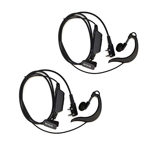 Retevis EEK006 RT618 Pinganillo Walkie Talkie, Auriculares de Seguridad, Earhook Auricular Tipo G 2 Pines, Compatible para Retevis RT24 RT27 RT28 RT619 BF-88E BaoFeng UV-5R BF-888S (2Piezas)