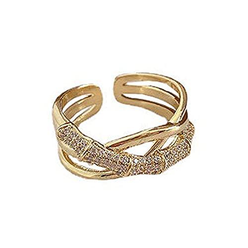 XPT Anillo de mujer de moda Cruz de múltiples capas brillante Rhinestone abierto ajustable dedo anillo joyería regalo de boda oro