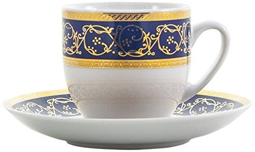 Bohemia Saphyr Greca Kaffee-Tasse und Untertasse, Porzellan, Blau, 12x 12x 5cm