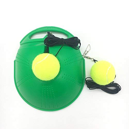 Linkin Sport Tennis Trainer Rebound Baseboard Self Tennis Training Tool Ball Back Training Gear with 2 String Balls (LightGreen)