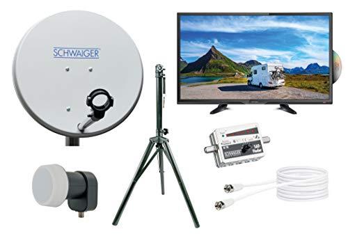 SCHWAIGER -TVSET2- Camping-Sat-Anlage digital komplett / Camping Satelitenschüssel / TV 24