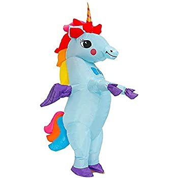 KOOY Inflatable Unicorn Costume Fancy Costume Halloween Party Cosplay Fantasy Blow up Costumes Adult