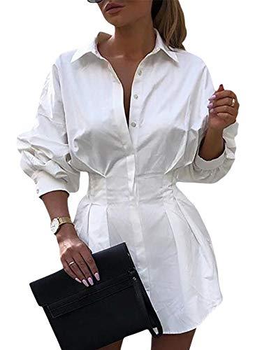 Vestido de camisa de mujer de manga larga con botones y cuello de solapa, casual, elegante, vintage, para oficina, Blanco liso, M