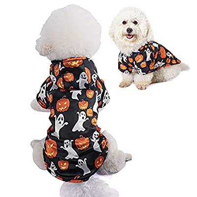 Filhome Costume for Dogs Ghost Pumpkin Dog Coat Warm Hoodies Clothing for Halloween Waterproof Windproof