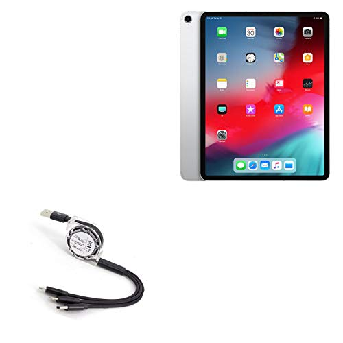 BoxWave Cable for Apple iPad Pro 12.9' (3rd Gen 2018) [AllCharge miniSync] Retractable, Portable USB Cable for Apple iPad Pro 12.9' (3rd Gen 2018) - Jet Black