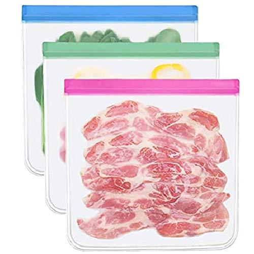 herbruikbare opbergzakken - 3 pack bpa gratis eten zak herbruikbare boterhamzakjes ziplock opbergzakken containers plastic conteiner vriezer gallon # 8178708
