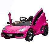 IKON MOTORSPORTS 12V Kids Ride on Car, Licensed Lamborghini Aventador SVJ w/ Remote Control, Suspension, Opening Doors, Power Display & MP3 (Pink)