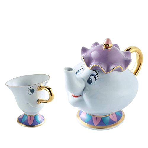 Cartoon Beauty And The Beast Tea Set Teapot Cup Mrs Clock Creative Xmas Gift,New Type Chip Cup JIAJIAFUDR (Color : New Type Tea Set)