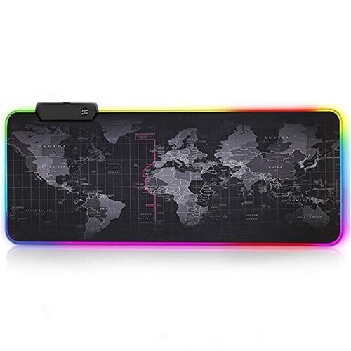 ZXF Mauspads RGB Weltkarte Extra Large Gaming Mouse Pad Maus Pad 900x400 Tastatur Mousepad Gamer Wasserdichtes Spiel Desk Mat Naturkautschuk (Color : RGB World Map, Size : 900 x 400 mm)