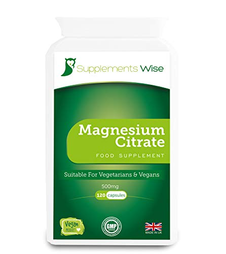 Supplements Wise Magnesium Citrate Capsules - Restless Legs Syndrome Remedy - Reduce Cramps, Tiredness and Fatigue - Calm Nerves, Relief from Anxiety, Improve Sleep - 120 x 500mg - 30% Elemental 150mg