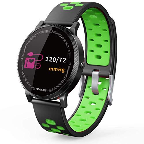 Pantalla a Color Pulsera Inteligente Medición de la frecuencia cardíaca Presión Arterial Impermeable Podómetro Android Apple Bluetooth Reloj Deportivo Foto Smartwatch (Verde)