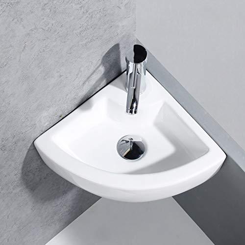 GOTOTOP Moderne Eckwaschbecken aus hochwertiger weißer Keramik Dreiecksarmatur Waschtisch Handwaschbecken