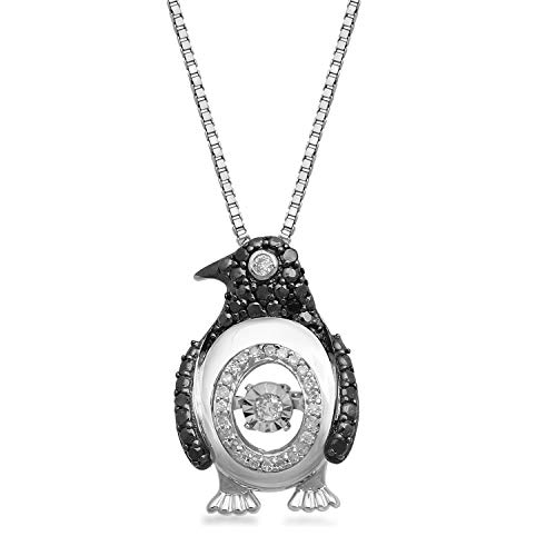 Jewelili Sterling Silver 1/6cttw Black and White Diamond Penguin Dancing Diamond Pendant Necklace, 18' Rolo Chain.