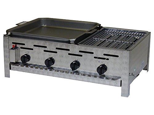 Edelstahl Gastrobräter 4-flammig mit geteilter Grillfläche.