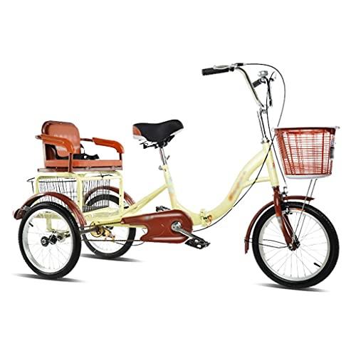 ZCXBHD Bicicleta de crucero de tres ruedas de 16 pulgadas con tres ruedas de una sola velocidad con cesta de la compra y triciclos de carga para asiento trasero para adultos (color 1)