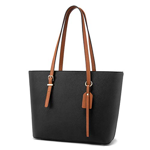Women Leather Handbags Purses Designer Tote Shoulder Bag Top Handle Bag for Work Travel Black