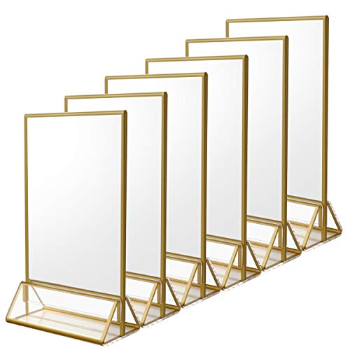 NIUBEE 6Pack 5 x 7 Clear Acrylic Wedding Table Number Holder Stands with Gold Borders, Double Sided Gold Picture Frames Sign Holder for Restaurant Table Menu Recipe Cards Photo Display