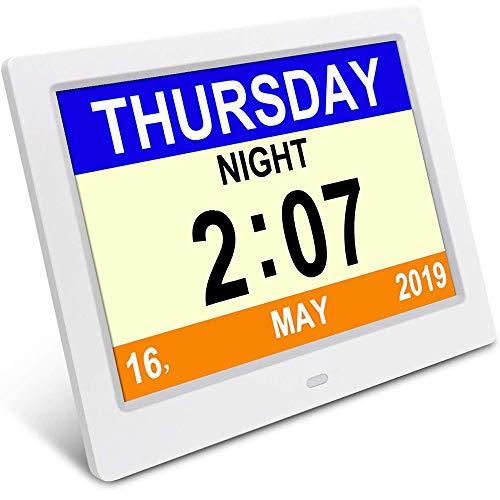 Slyabz Demenz-Tagesuhr, Gedächtnisverlust Digitalkalender-Tagesuhr, mit extra großem Nicht abgekürztem Tag u. Monat. Perfekt für Senioren (White)