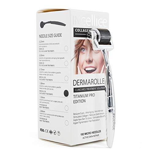 Dermaroller 1.5 mm Derma Roller 1,5mm Titan 192 Nadeln Microneedling Body Skin Roller Mikronadelwalze Mikronadelungsset für Akne-Narben-Hautregeneration bei Gesichts Körper und Körperhaarregeneration