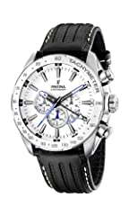 Black Leather strap Stainless-steel case, White dial Quartz movement Case diameter: 46mm Water resistant: 100m