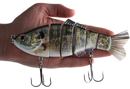 Real Fish 8' Spring Shad Multi Jointed Swimbait Bass Fishing Bait Hard Lure Slow Fast Sinking Life Like Big Gizzard Shad Minnow Bluegill Dark Sleeper Hooks (8' Threadfin SHAD)