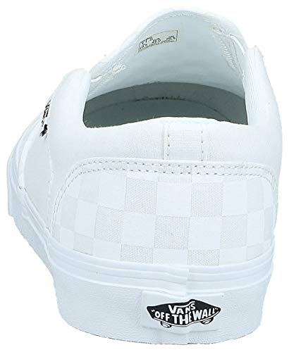 Vans Asher, Slip-on Sneaker Uomo, Bianco ((Checkerboard) White/White W51), 42 EU