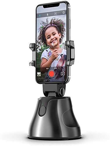 Selfie Stick, 360°Rotación automática de seguimiento de cara y objetos Soporte de teléfono, Vlog Shooting Soporte de teléfono celular compatible con iPhone Android y todos los teléfonos (negro)