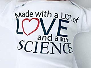 Made with Love and Science Outfit for IVF Baby, White, Short Sleeve, 3-6 Months, In Vitro, Surrogate Miracle Babies, Unisex Worth the Wait Shirt, Pregnancy Announcement, Neutral Bodysuit
