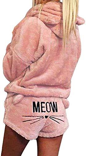 pigiama donna zip davanti Yying Cute Cat Meow Pattern con Cappuccio Shorts Set Donna Coral Velluto Suit Two Piece Autunno Inverno Pigiama Hot Sleepwear Rosa Chiaro S