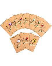 بطاقات معايدة مزينة بزهور مجففة، 10 قطع بطاقات معايدة يدوية الصنع ريترو كرافت، بطاقة ملاحظات، بطاقة شكر، بطاقة دعوة لعيد الميلاد