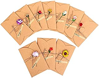 Dried Flowers Greeting Cards, 10PCS Handmade Greeting Cards Retro Kraft Blank Note Card Thank Notes for Birthday Party Inv...