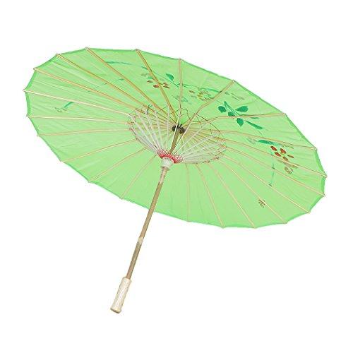 Chinesischen Regenschirm - Asiatischen Sonnenschirm - Tanz Schirm - Tanzen Requisiten - Handgemacht - aus Stoff - Grün, 82 cm