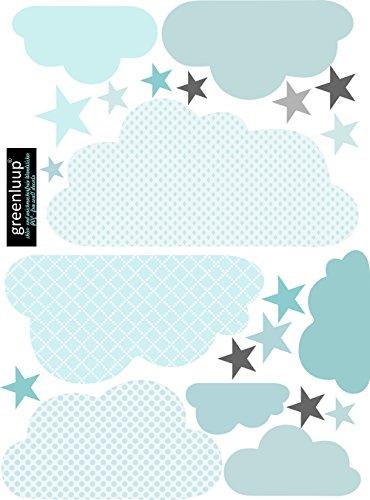greenluup Wandtattoo Wandsticker Wandaufkleber Wolken (Wolken Blau) Kinderzimmer Babyzimmer Deko