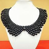 XKMY Chal de cuello falso, perlas falsas, collar de perlas desmontables, para fiesta, novia, vestido de novia, decorar, falso collar (color: negro)