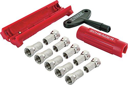 SCHWAIGER -5194- Montage-Werkzeug Set/Abisolierer für Koaxial-Kabel/Kabel Stecker -Aufdrehhilfe / 10 F-Stecker / 4 Gmmitüllen als Dichtung/Installation von LNB an Sat-Anlagen