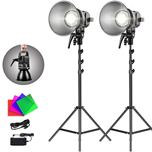 GVM LED Video Light with Stand,Dimmable 80W COB Video Lights with Bowens Mount,Cold White Studio Lighting Kit for YouTube Vlog Studio Camera Wedding Photography Shooting Light (CRI97+,5600K,2Pack)