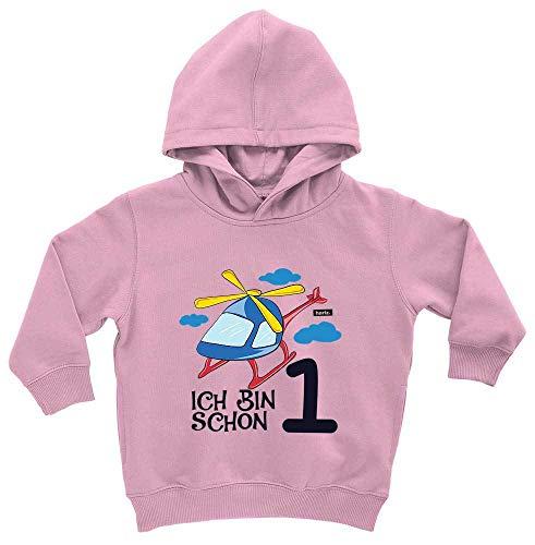 HARIZ HARIZ Baby Hoodie Ich Bin Schon Eins Hubschrauber Wolken 1 Geburtstag Kinder Baby Plus Geschenkkarte Zuckerwatte Rosa 1-2 Jahre