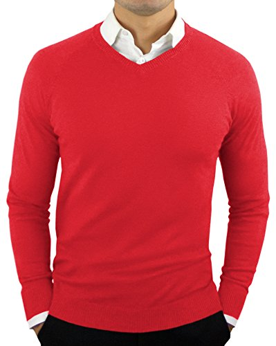 CC Perfect Slim Fit V Neck Sweaters for Men | Lightweight Breathable Mens Sweater | Soft Fitted V-Neck Pullover for Men Red