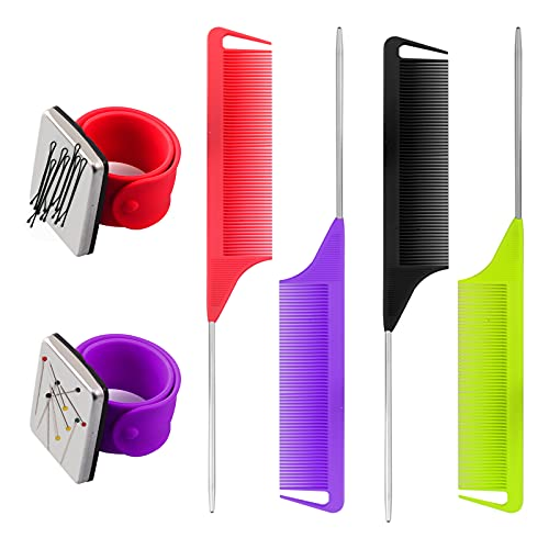 6 Pieces Magnetic Wrist Sewing Pincushions Wrist Magnetic Pin Holder Wrist Band Sets with Stainless Steel Pintail Comb Rat Tail Teasing Comb Hair Parting Comb for Girls (4 Colors)