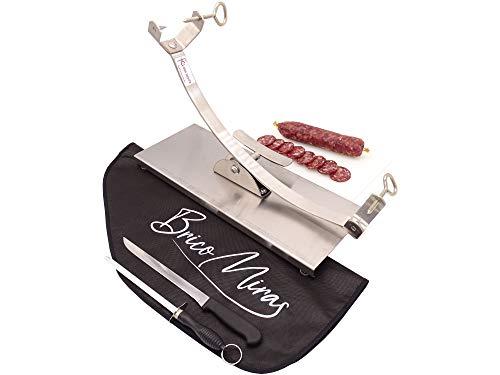 Jamonero Modelo Basculante/Balancín Acero Inoxidable. Ideal para uso doméstico y profesional, incluye barra salchichón, cubrejamón negro, cuchillo y chaira