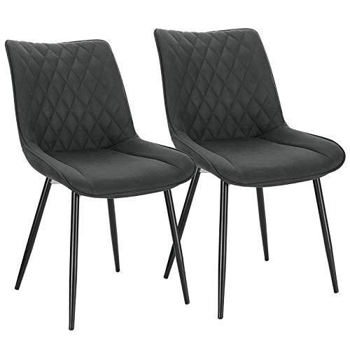 WOLTU 2X Sillas de Comedor Dining Chairs Nordicas Estilo Vintage Juego de 2 Sillas de Cocina Sillas Tapizadas en Tela Silla Estructura de Metal Sillas Salon Antracita BH248an-2