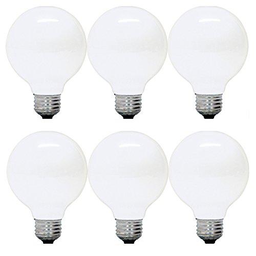 GE Incandescent Light Bulbs, G25 Globe Light Bulbs, 40-Watts 370-Lumens, Soft White, Medium Base, 6-Pack, Vanity Light Bulbs