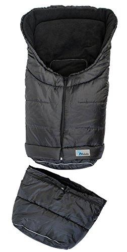 Altabebe AL2211-3 Winterfußsack 2 in 1 für Babyschale und Kinderwagen, schwarz