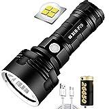 Linterna LED impermeable de alta potencia de 30000-100000 lúmenes, Ultra brillante de 3 modos Linterna LED XLM-P70, Linterna recargable USB (50W XLM-P70, Batería de litio única)