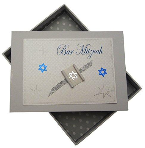 White Cotton Cards Mini-Fotoalbum für Bar Mitzwa, jüdisches Geschenk, für Jungen